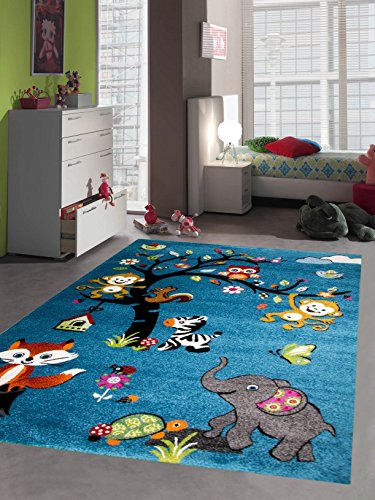 kinderteppich kurzflor tiere t rkis blau gr n pink orange cream bunt gr e 80x150 cm teppich. Black Bedroom Furniture Sets. Home Design Ideas
